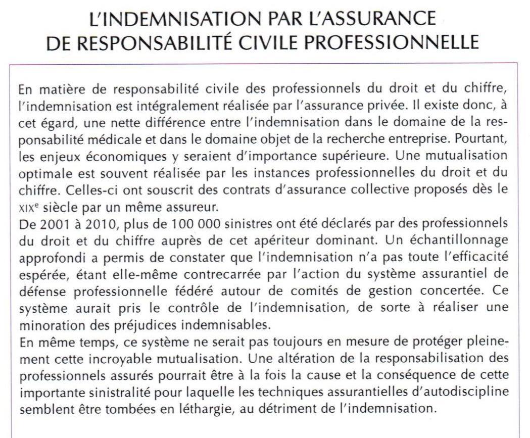 RESUMER Ouvrage Rodolphe BIGOT Indemnisation Assurance Responsabilité Civile Pro avec le soutien de FIDES